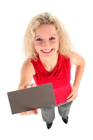 Woman Holding Blank Card Stock Photo - 808389