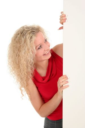 Woman holding blank poster board Stock Photo - 808398