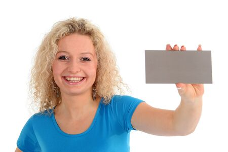 Woman holding blank sign photo