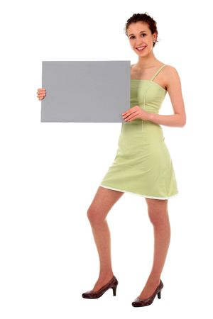 Woman holding blank sign Stock Photo - 808422