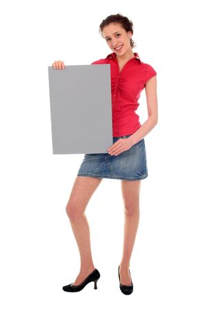 Woman holding blank poster board Stock Photo - 808424