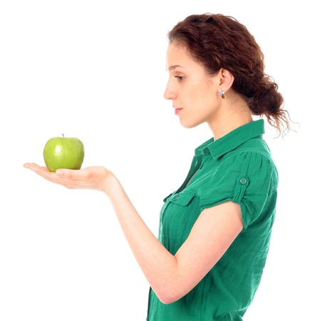 woman holding green apple photo