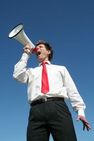 agitation: Businessman with Megaphone