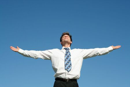 arm outstretched: Businessman with Arms Outstretched