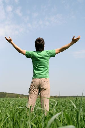 arms wide: Man with Arms Outstretched