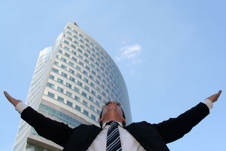 arms wide open: Businessman with his arms wide open