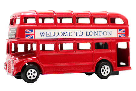 Toy Red Double Decker Bus Stock Photo