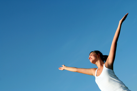 arms wide open: Woman with arms wide open