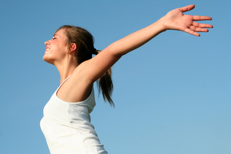 Woman with arms wide open Stock Photo - 1490080