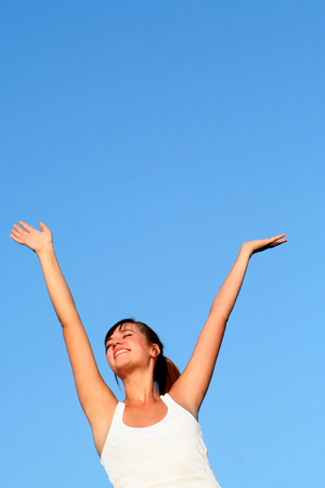 Woman with arms outstretched  Stock Photo - 1490091