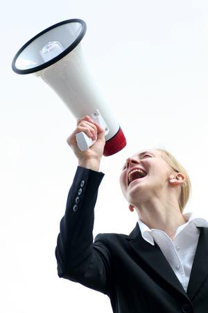 Businesswoman Using a Megaphone photo