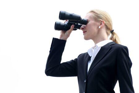 Businesswoman looks into the future photo