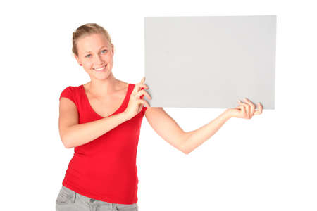 Woman holding blank poster board photo
