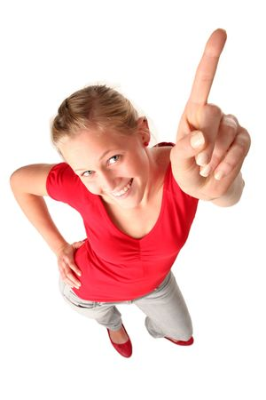 Young woman pointing Stock Photo - 1779977