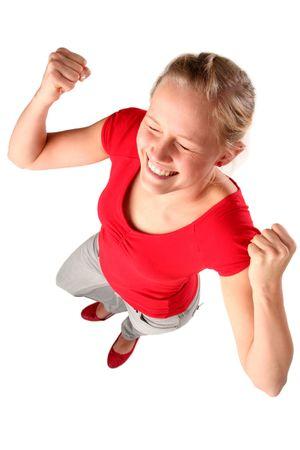 euforia: Mujer clenching pu�os