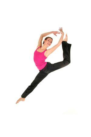 hopping: Female dancer jumping