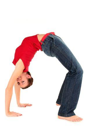 bending over: Woman bending over backwards Stock Photo