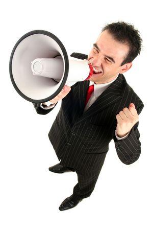 megaphone: Businessman Shouting Through Megaphone