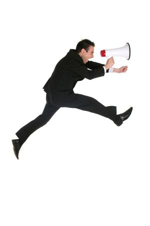 Businessman Jumping with Megaphone Stock Photo - 1976049