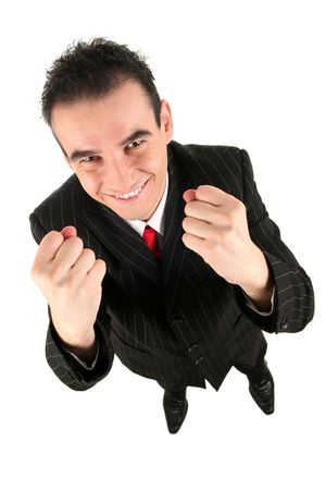 Businessman clenching fists photo