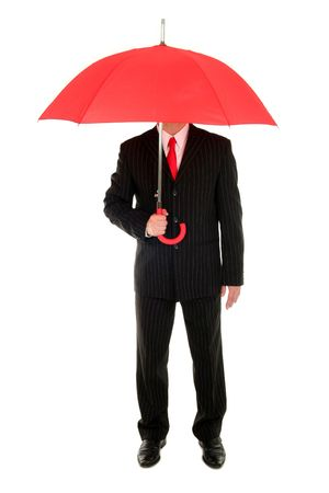 Businessman with an umbrella  photo