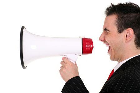 agitation: Man Shouting Through Megaphone
