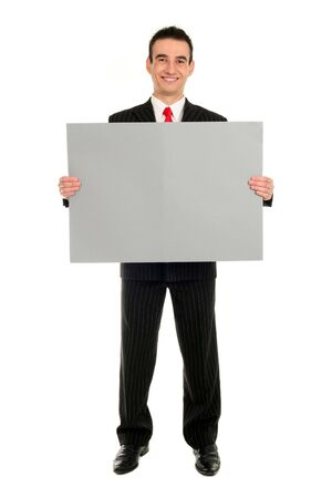 Businessman Holding Blank Card Stock Photo - 2038972