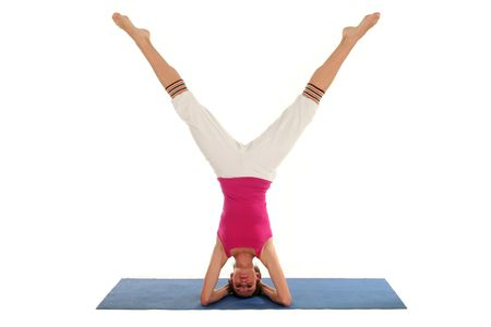 headstand: Woman doing headstand