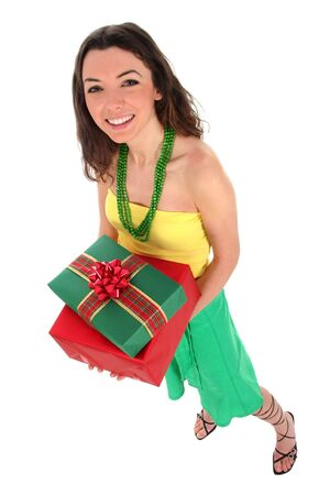 Woman holding gifts photo