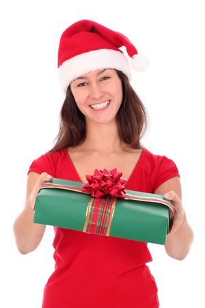Woman in Santa hat holding gift box photo