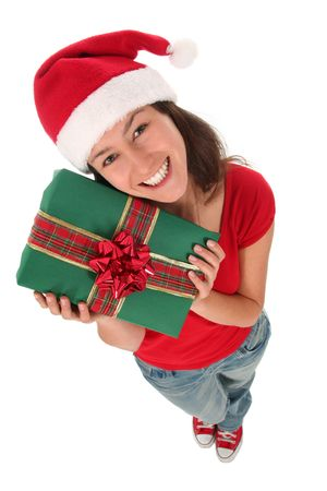 Woman in Santa hat holding gift box Stock Photo - 2230698