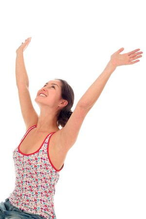 arms wide: Woman with arms wide open