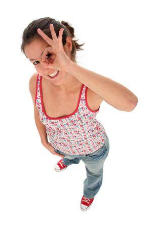 ok symbol: Woman giving OK gesture  Stock Photo