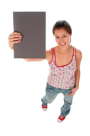 Woman holding blank sign Stock Photo - 2245689