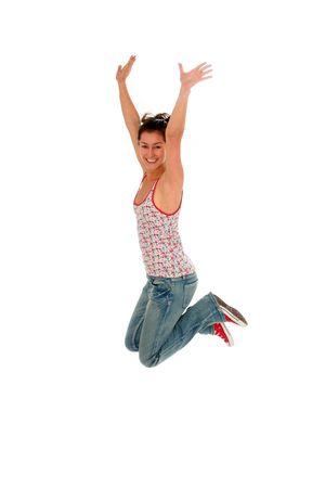 Woman jumping photo