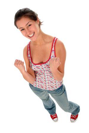 Woman clenching fists Stock Photo - 2262785