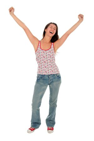 arms outstretched: Happy woman with her arms wide open