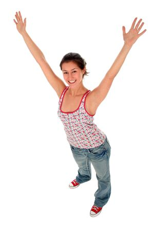 Happy woman with her arms wide open photo