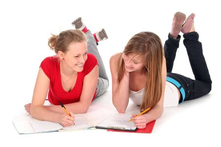 Young women doing homework photo