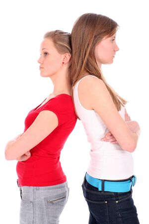 argues: Two young women disagreeing