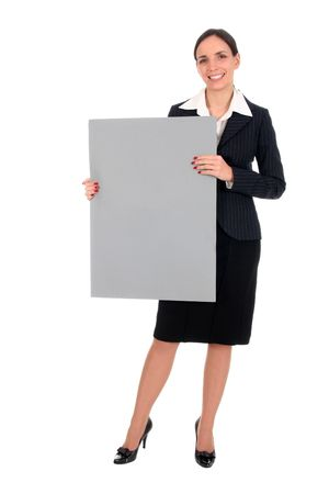 Businesswoman holding blank poster Stock Photo - 2531105