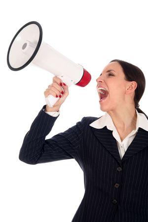 agitation: Businesswoman Shouting Through Megaphone Stock Photo
