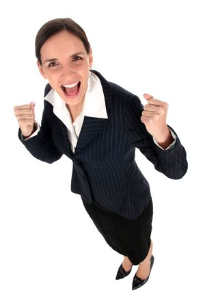 succeeding: Businesswoman clenching fists