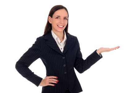 introducing: Businesswoman introducing something