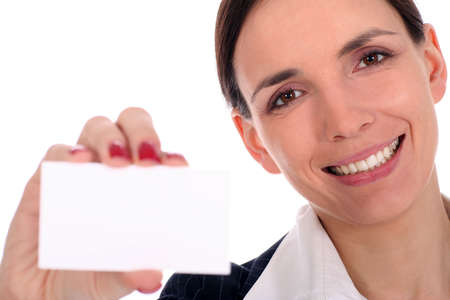 Businesswoman Holding Blank Sign photo