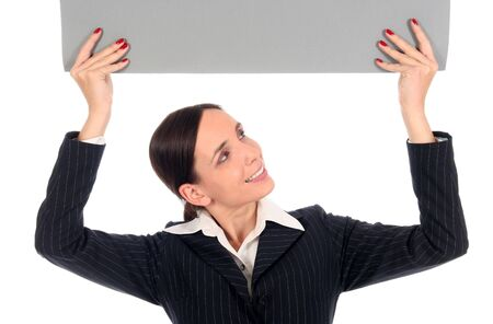 Businesswoman holding blank poster Stock Photo - 2556554