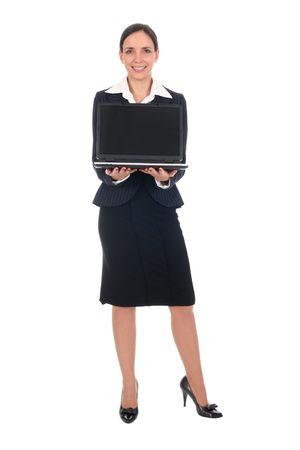 Businesswoman holding laptop photo