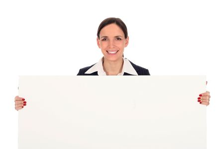 Businesswoman holding blank poster photo