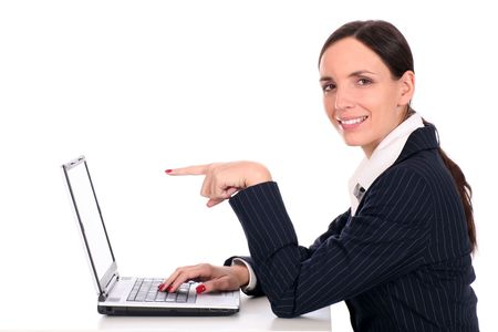 Businesswoman using laptop photo