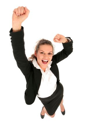 succeeding: Businesswoman with arms raised Stock Photo